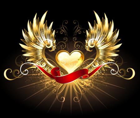 Corazón de oro con alas de oro, adornada con una cinta de seda roja sobre un fondo negro Foto de archivo - 39156515
