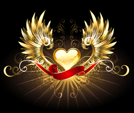 heart wings: golden heart with golden wings, decorated with a red silk ribbon on a black background