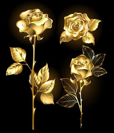oro: Conjunto de oro, brillantes rosas sobre un fondo negro