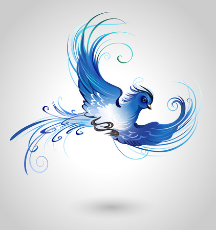 artistically painted, flying blue bird on a light background. Ilustração