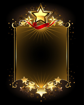 five stars: banner with five gold stars on a dark background. Illustration