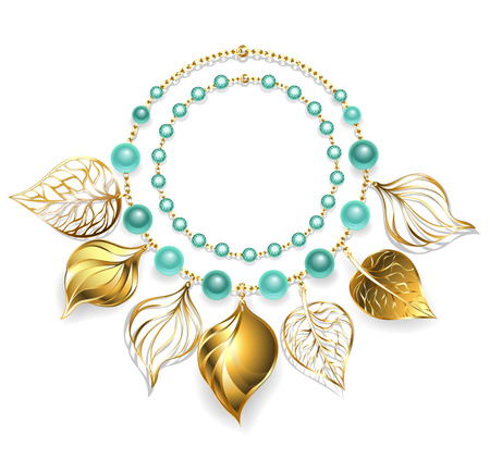 necklace of gold chain, green beads and gold leaves