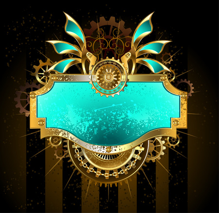 Rectangular banner with gears and green scratch the glass, decorated with mechanical wings on a dark brown background.