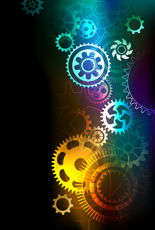 bright multicolored gears on a dark background.