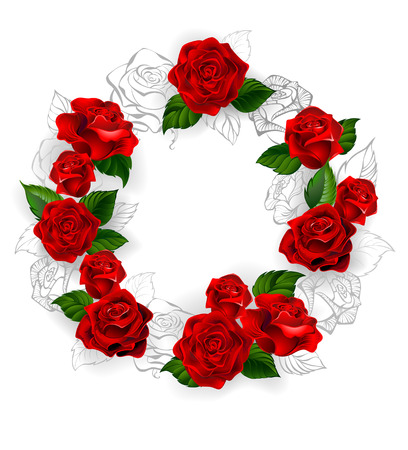 Circle of red volume and draw a pencil outline of roses on a white background.