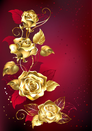 textural: gold entwined roses on red textural background Illustration