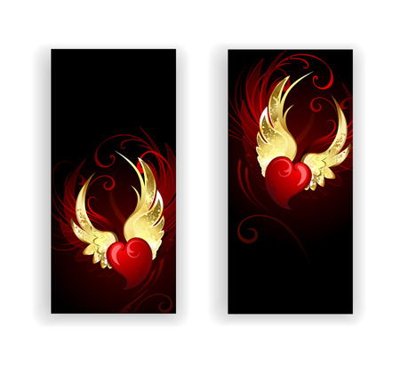 leaflets: two banners with red hearts angel with golden wings on a black background.