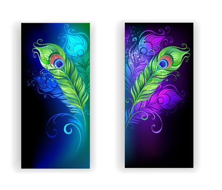 twee banners met kleurrijke pauw veren op een zwarte achtergrond.