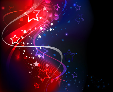 abstract glowing blue and red abstract background with stars and flowing ribbons.