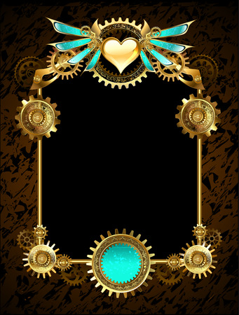 design with bronze and gold gears decorated heart with mechanical wings on brown textural background.