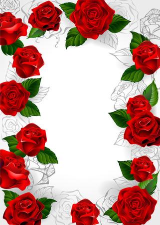 Frame aus roten Rosen blühenden Rosen und Kontur auf weißem Hintergrund. Standard-Bild - 42132357