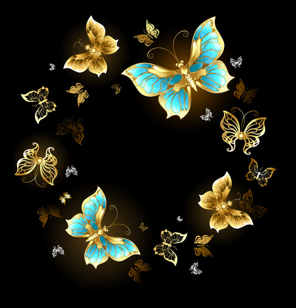 Round dance of gold and brass butterflies with shiny wings on a black background