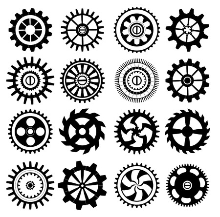 precision: Set of black gears on a white background. Illustration