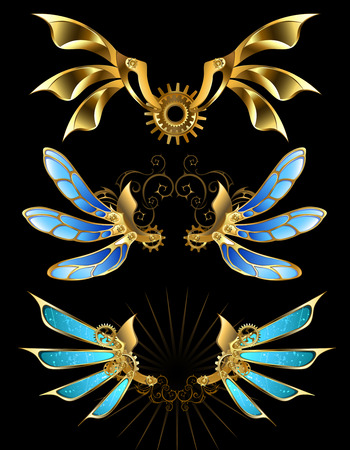 set of mechanical wings with gears on a black background.