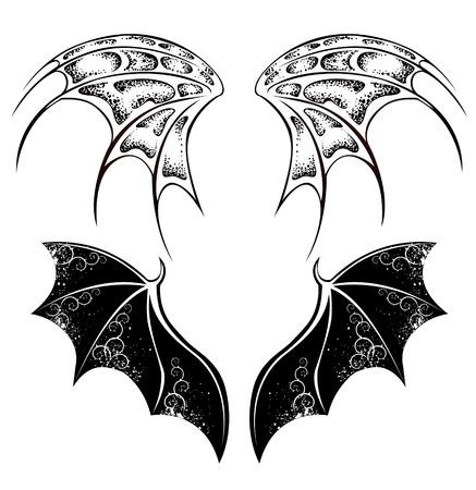 satanas: Conjunto de monocromo, aislado,, alas de drag�n negro, pintado en el estilo tribal en el fondo blanco.