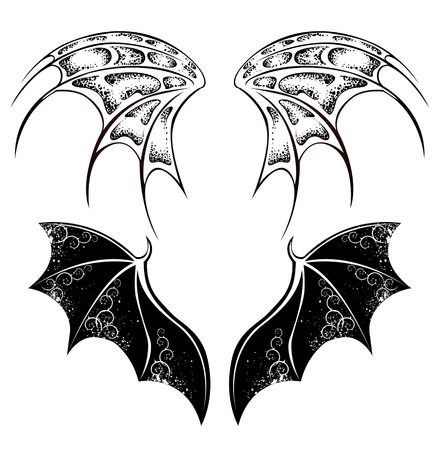 bats: Set of monochrome, isolated, black, dragon wings, painted in tribal style on white background.