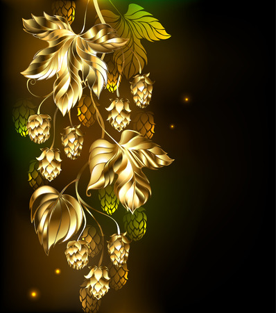 bumps: Gold branch of hops on a black glowing background.
