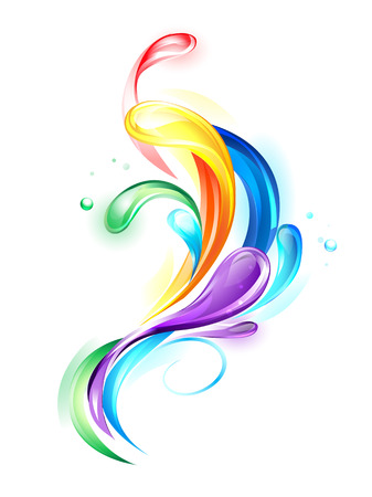 colorful, transparent drops on a white background. 일러스트