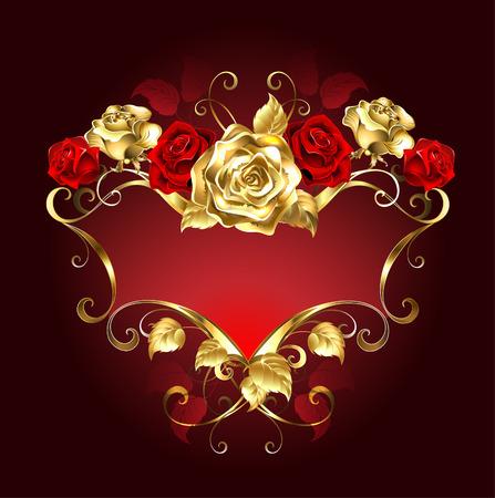 rosas rojas: bandera roja con oro y rosas rojas sobre un fondo oscuro.