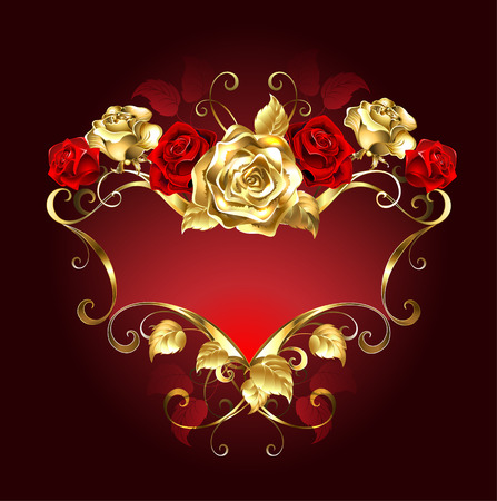 red rose: red banner with gold and red roses on a dark background.