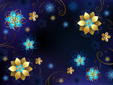 jewelry background: blue background with gold jewelry and blue flowers.