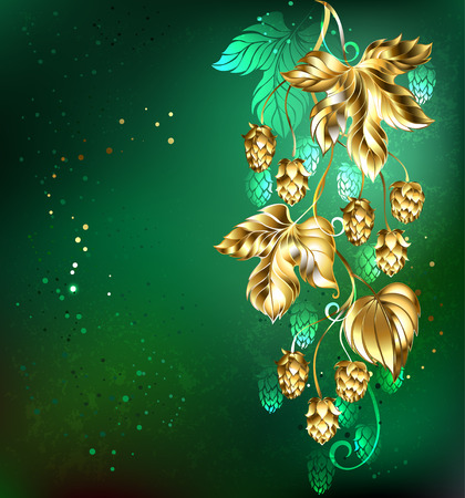 textural: Gold branch of hops on a green textural background. Illustration