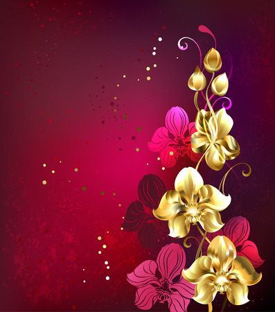 branch of golden orchid on red textural background