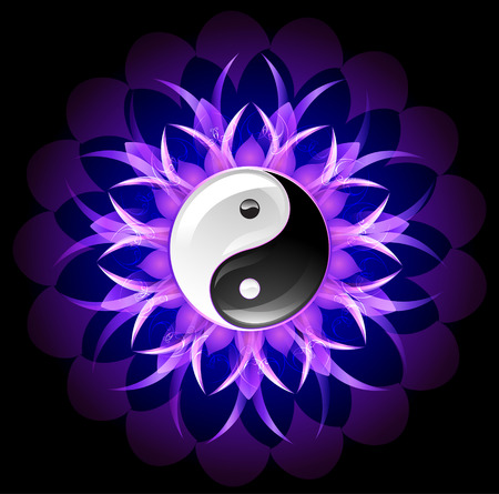 dark purple: glowing purple lotus with yin yang symbol on a black background.
