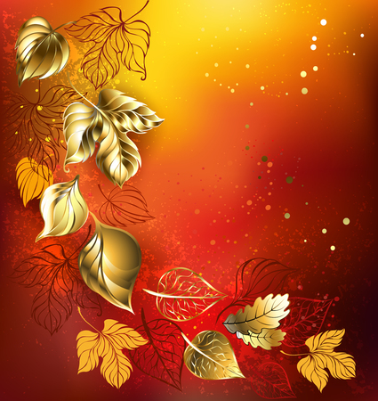 jewelry background: golden autumn leaves on an orange background textural. Illustration