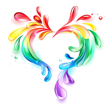 rainbow heart drops of liquid on a white background Ilustrace