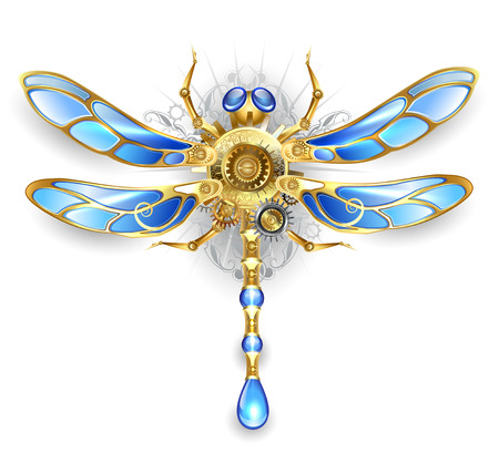 dragonfly wings: mechanical dragonfly wings with blue glass and bronze gears on a white background
