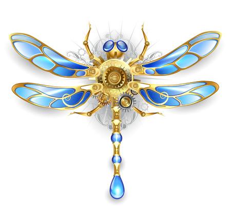 mechanische libelle vleugels met blauw glas en brons versnellingen op een witte achtergrond