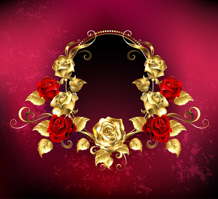 red Oval banner with gold frame decorated with gold and red roses on red background.
