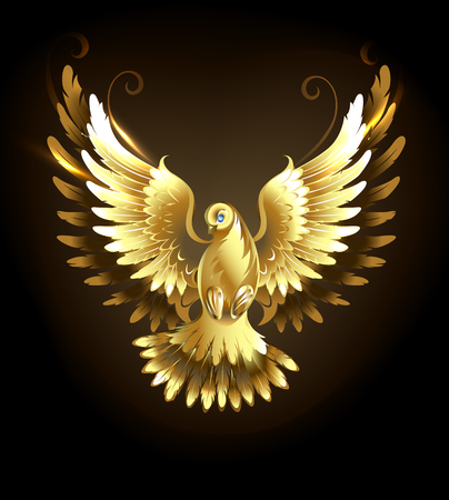 angel: Gold flying dove on a black background.