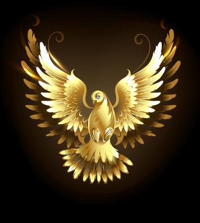 paloma caricatura: Oro volar paloma sobre un fondo negro. Vectores