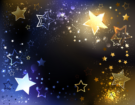 Space abstract background with glowing blue and gold stars