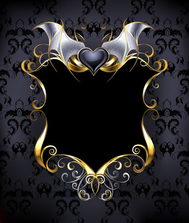 black banner with a gold frame and a black vampire heart on the dark patterned background.