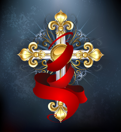 gold cross: silver cross, decorated with gold lilies, with a red silk ribbon on a dark background
