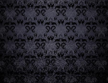黒のベルベットは、様式化された葉の背景をパターン。  イラスト・ベクター素材