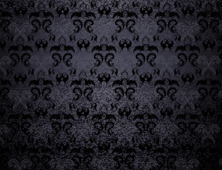 Black velvet patterned background of stylized leaves.