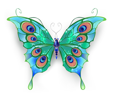 peacock butterfly: butterfly with green wings, decorated with blue circles on a White background.