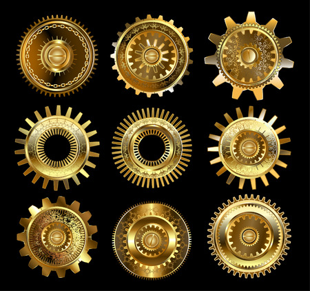 steampunk: set of vintage, patterned brass and gold gears on a black background