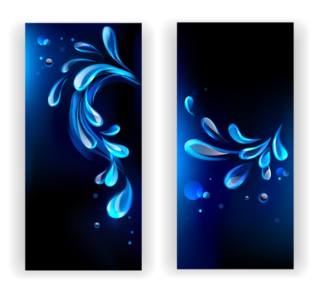 two banners with blue, transparent water droplets on a black background