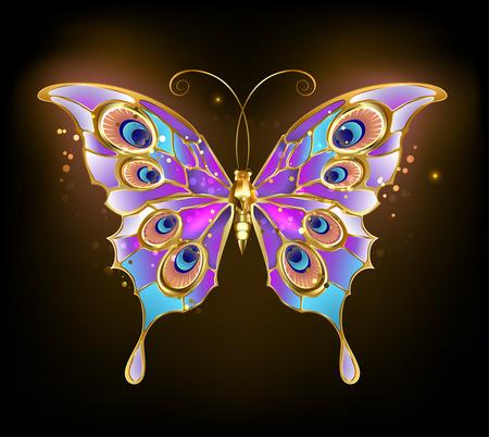 pavo real: mariposa con alas de oro con dibujos de pavo real sobre un fondo oscuro. Vectores