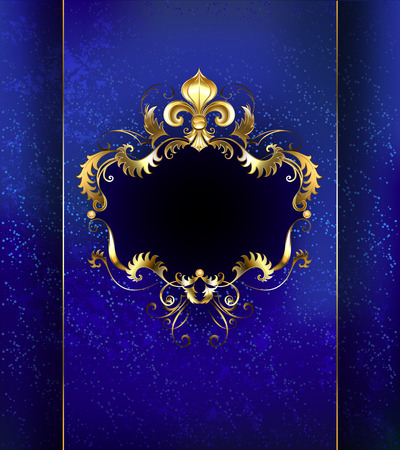 brocade: banner decorated with luxurious golden ornament and gold Fleur de Lis on a blue background.