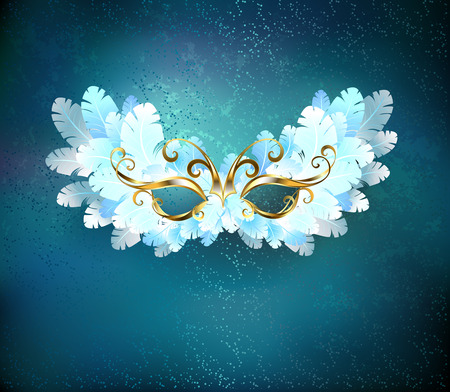 mystique: Mask of white feathers, decorated with a gold pattern on a blue textural background. Illustration