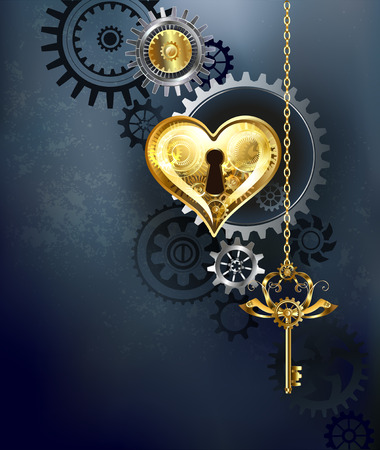 mechanical heart with gears and a golden key on a gray background.