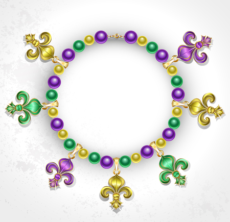 beads: necklace of purple, green, yellow beads, decorated with  Fleur de Lis