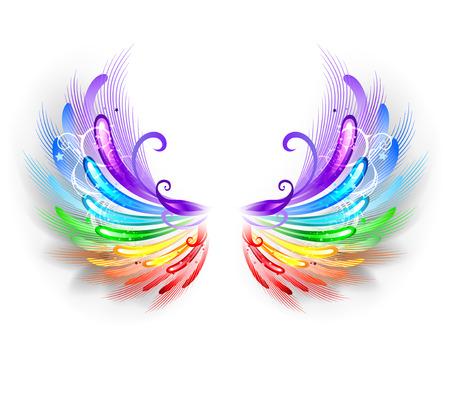 ali angelo: ali arcobaleno soffici su uno sfondo bianco. Vettoriali