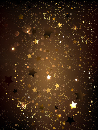 star background: Dark brown textured background with gold shiny little stars.